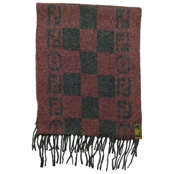 Fendi Red Grey Zucca Print Logo Fringe Wool Scarf